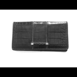 Black Leather Brighton Checkbook Cover